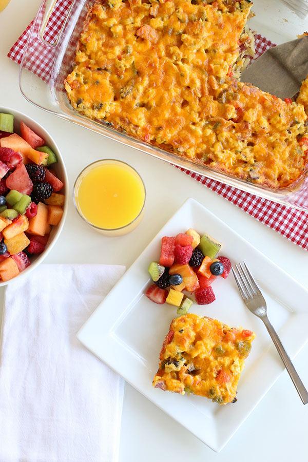 Breakfast Hashbrown Casserole with fresh fruit
