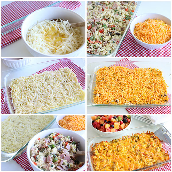 collage of step by step photos of how to make Breakfast Hashbrown Casserole