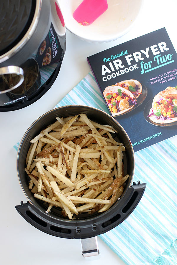 Air-Fryer-French-Fries next to the Air Fryer Cookbook for Two