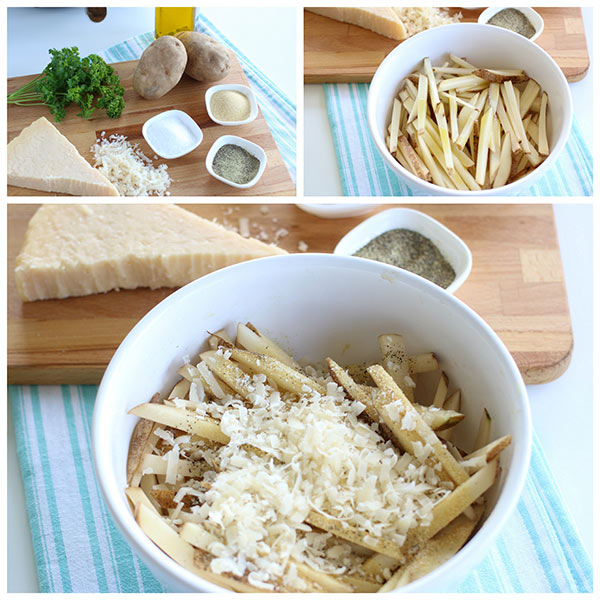A collage of seasonings to make homemade air fryer french fries, includes potatoes, salt, pepper, garlic and Parmesan cheese