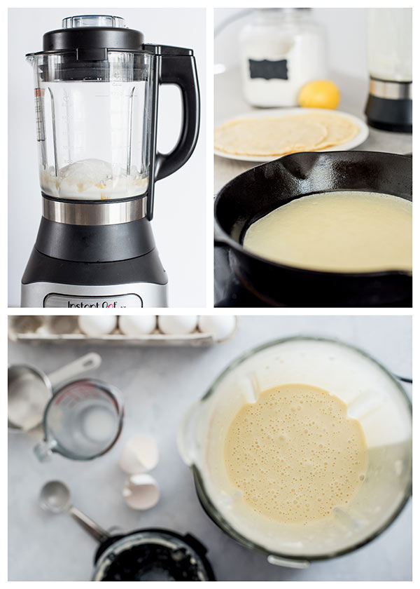 collage of making Lemon Ricotta Crepes
