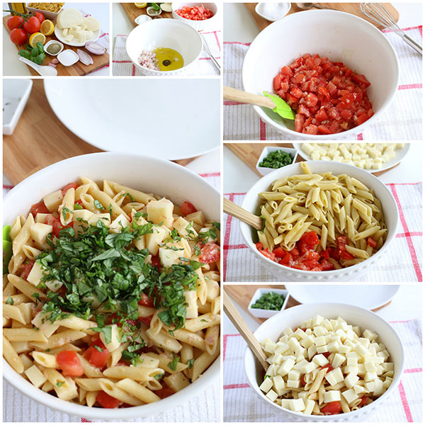 collage of step by step photos of Making Pasta Caprese Salad