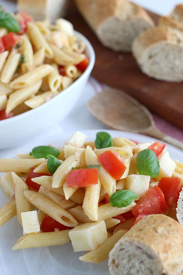 Close up of Pasta Caprese