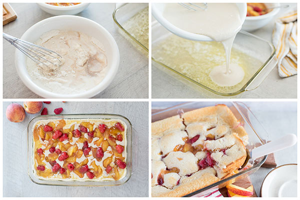 collage of Making-Raspberry-Peach-Cobbler-2
