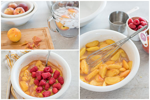 collage of making Raspberry Peach Cobbler