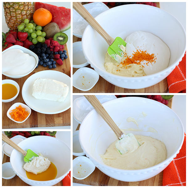 collage of making Creamy Orange Fruit Dip