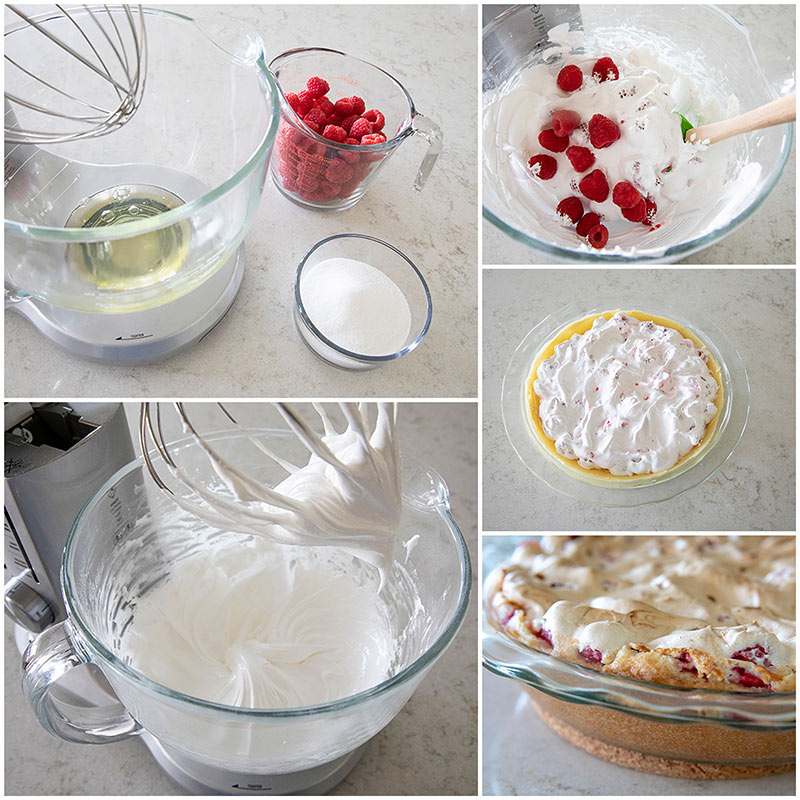 collage of Step by step photos of making the filling for Raspberry Meringue Pie
