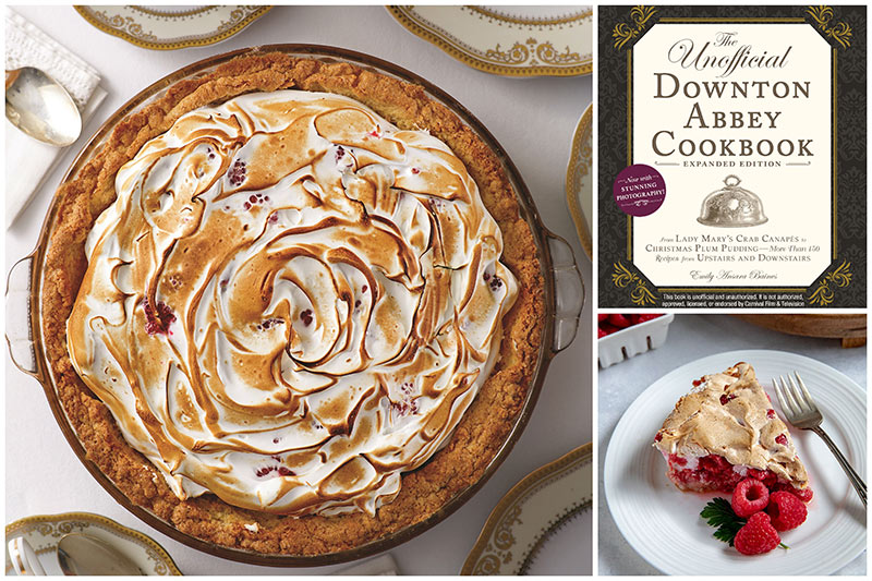 Raspberry Meringue Pie Collage with the Unofficial Downton Abbey Cookbook