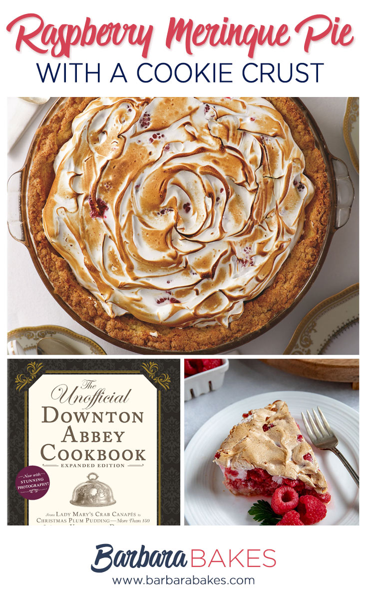collage of Raspberry Meringue Pie with a Cookie Crust from The Unofficial Downton Abbey Cookbook