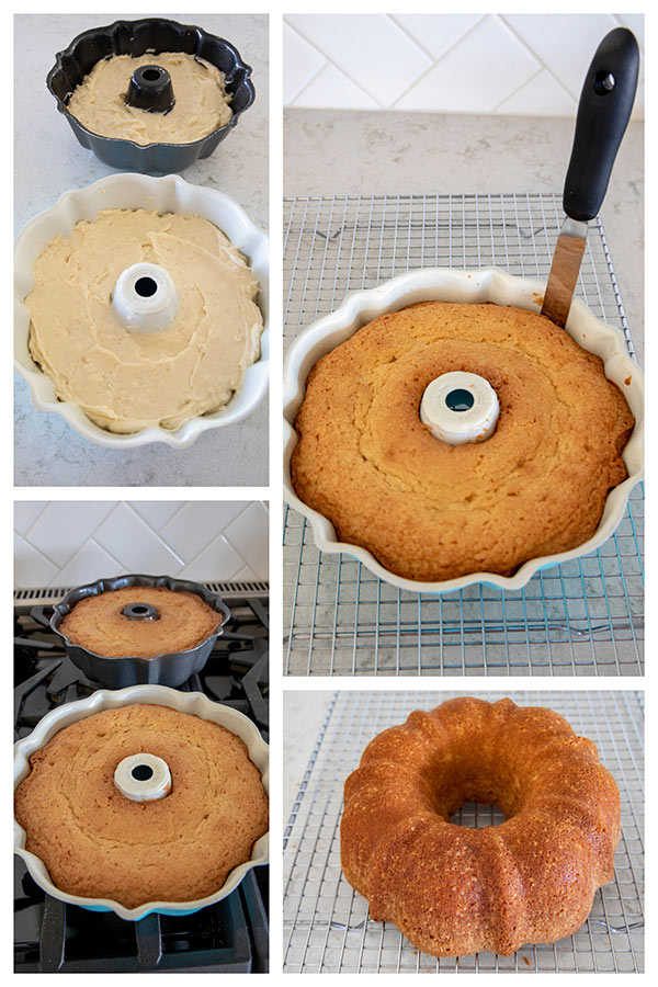 Collage of how to remove a bundt cake from bundt pan