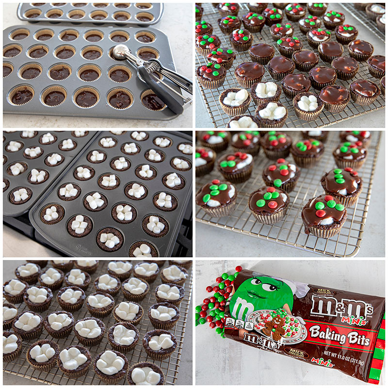 collage of Step by Step Photos how to make Marshmallow Surprise Brownie Bites