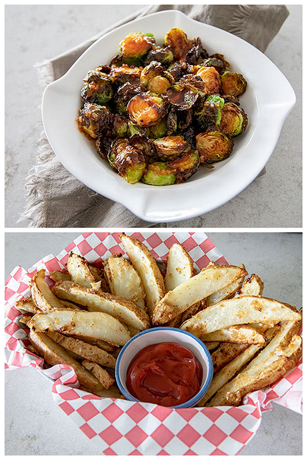 A collage ofAir Fryer Brussels Sprouts with Honey Sriracha and Garlic Parmesan Air Fryer Potato Wedges