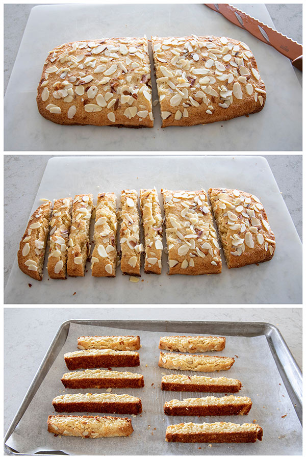 photo collage of how to cut Low Carb Almond Biscotti