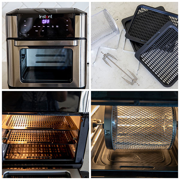 A collage showing Instant Vortex Air Fryer Oven and Accessories