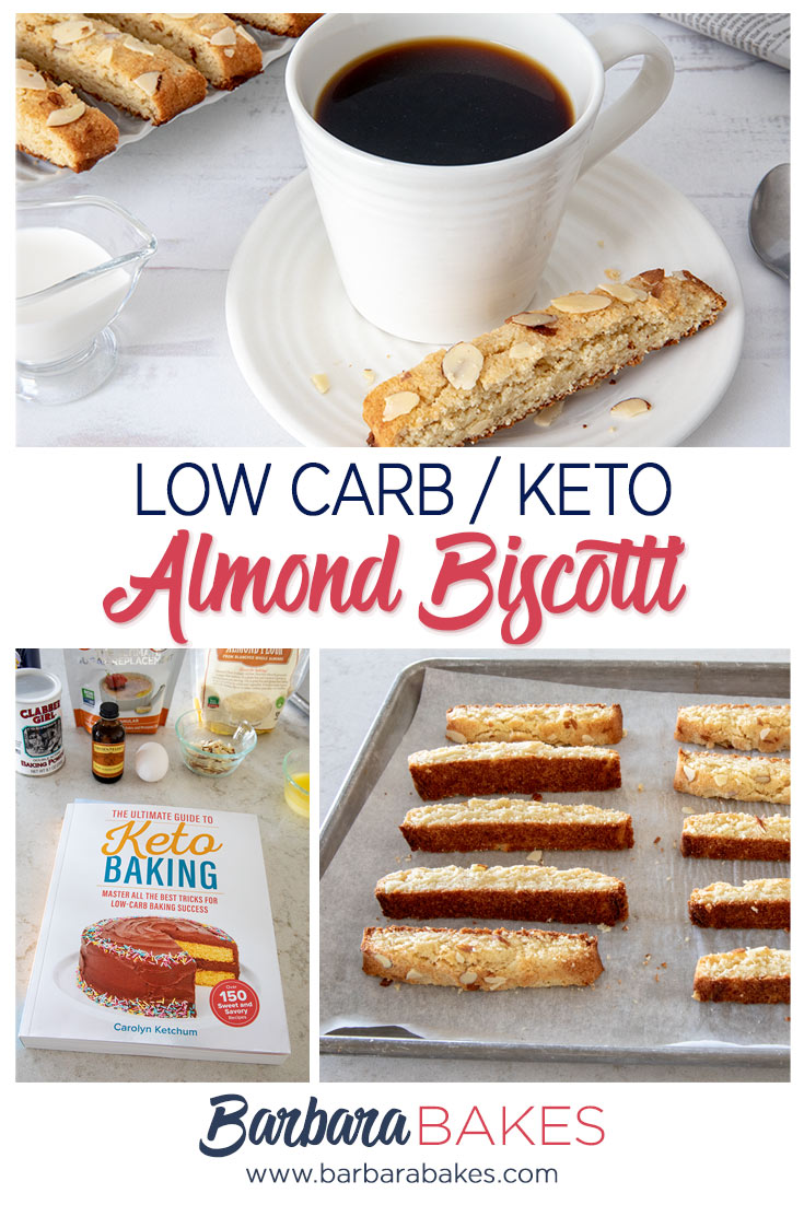 collage for Low carb Keto almond biscotti with coffee