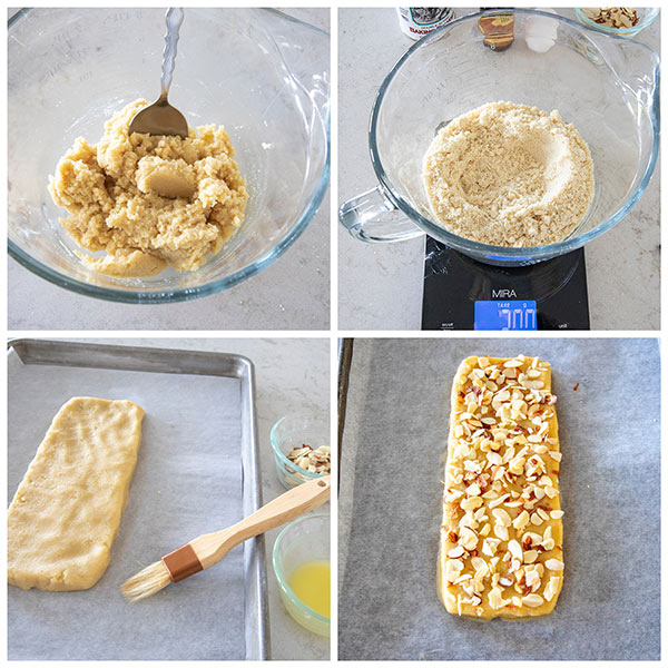 Step by step photo collage of making almond biscotti
