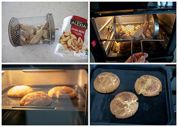 collage of Instant Vortex Air Fryer Oven cooking potato wedges and cookies