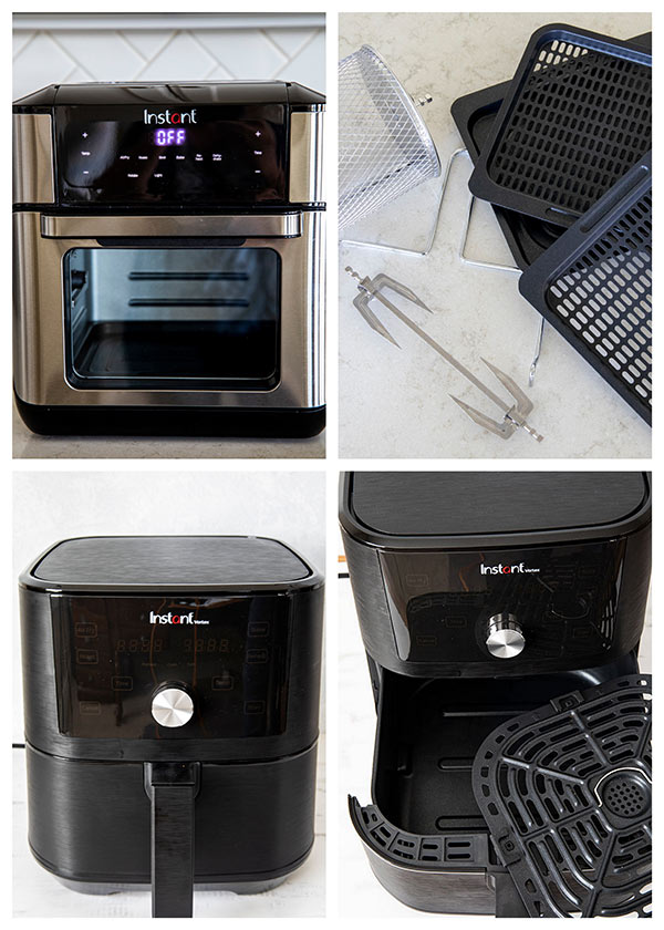 collage of Instant Vortex 6 quart and 10 quart air fryers with accessories