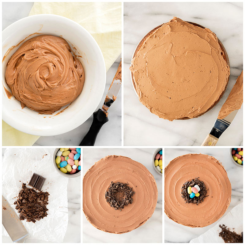 An overhead collage of a white bowl with malted chocolate frosting, a white napkin and a small offset spatula covered in frosting. As well as step by step photos icing and decorating the cake.