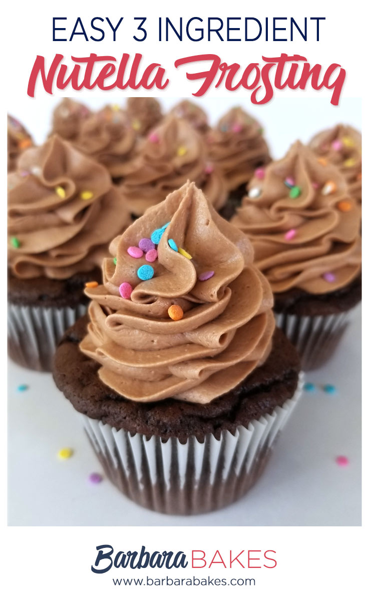 Chocolate cupcakes with Easy Nutella Frosting swirled on top.
