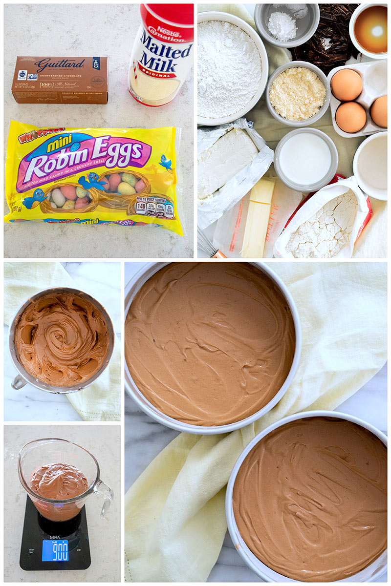 An overhead collage of the ingredients to make homemade malted milk chocolate cake; flour, cream cheese, eggs, butter, milk, vanilla, sugar and baking chocolate. As well as creating the frosting and batter in the cake pans.