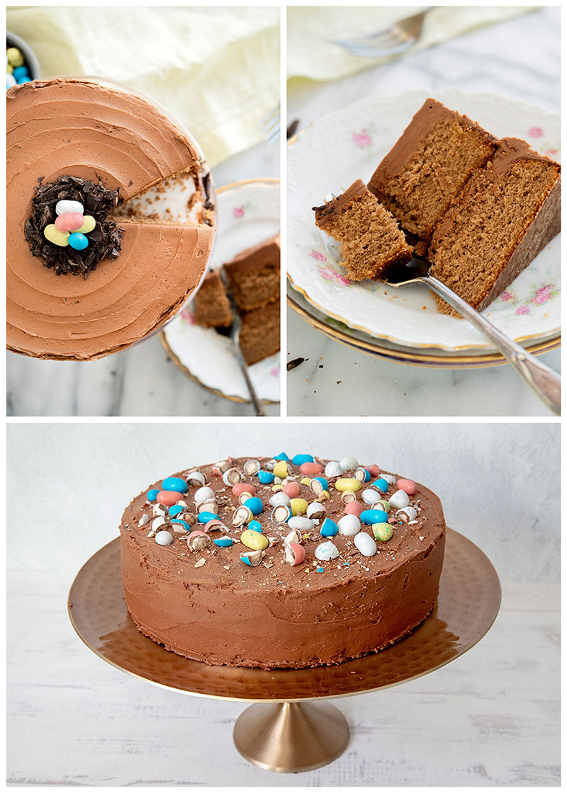 An overhead collage of malted milk chocolate cake on a cake stand decorated with Robin egg candies in a chocolate nest with one slice taken out on a plate.