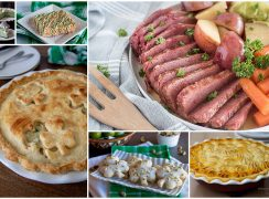 A collage of Corned beef, shepherd's pie, chicken pot pie with clovers in the crust, green mint chocolate chip pie, and clover shortbread cookies
