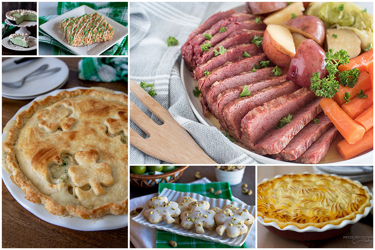 A collage of Corned beef, shepherd\'s pie, chicken pot pie with clovers in the crust, green mint chocolate chip pie, and clover shortbread cookies