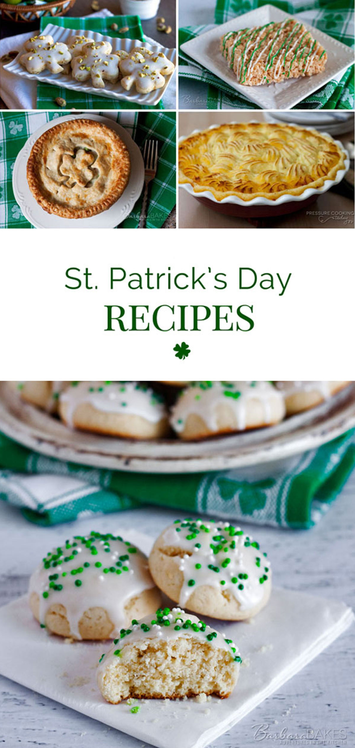 A collage Shepherd\'s pie, chicken pot pie with a clover in the crust, Italian cookies with green sprinkles, and clover shortbread cookies