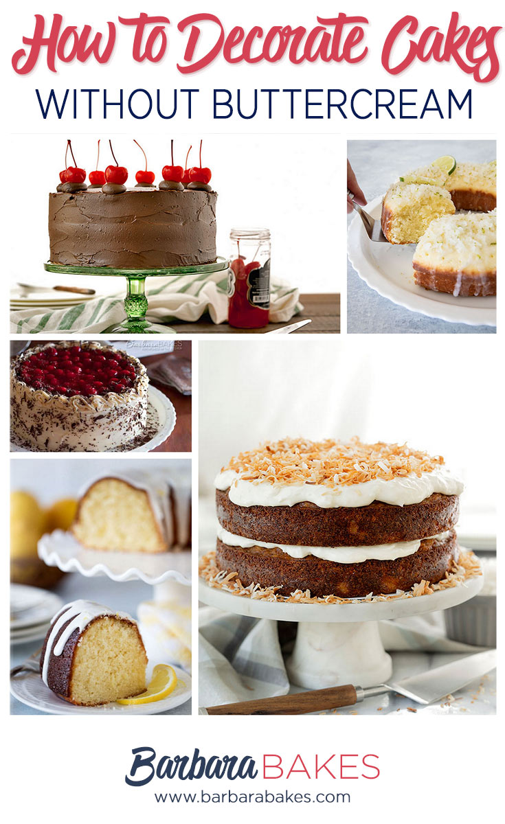 A collage of 5 cakes decorated without buttercream frosting.