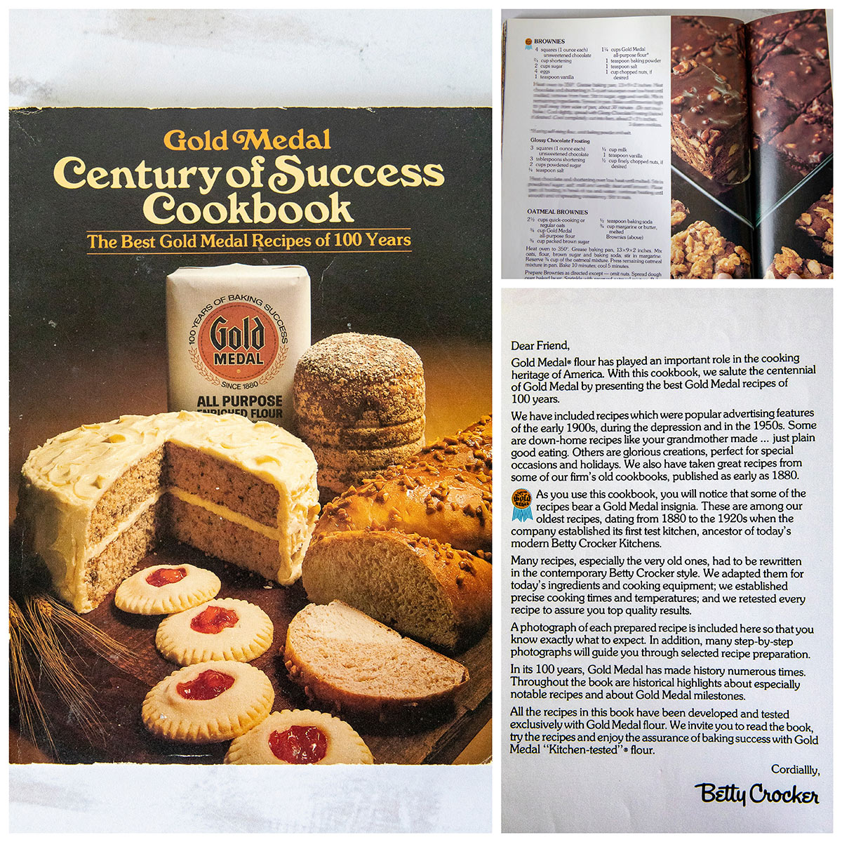 Gold Medal Century of Success Cookbook cover; brownie recipe and photo from the cookbook; and introduction of the cookbook