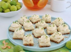 Key Lime Coconut Cashew Bars on a serving plate