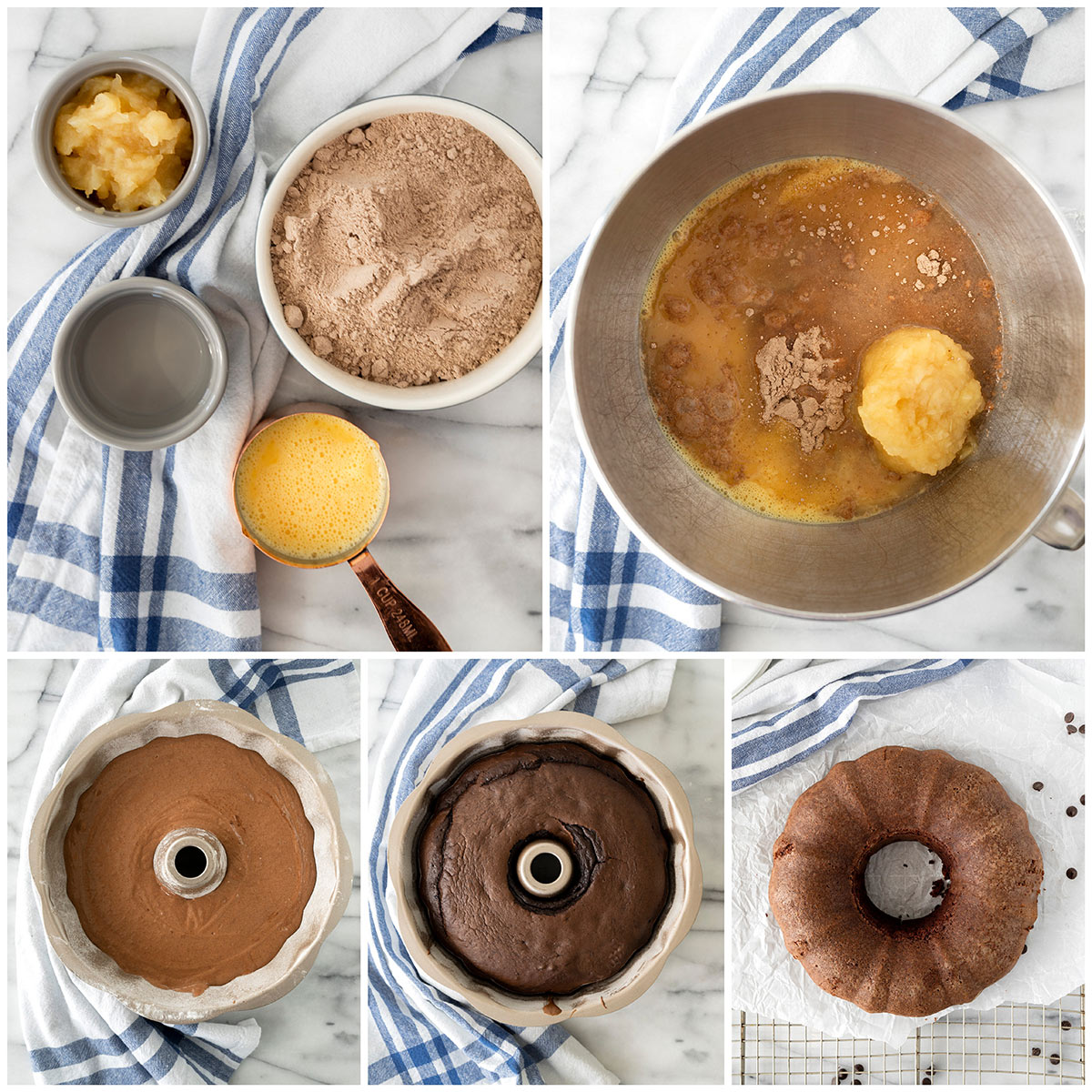Five photos - one showing the ingredients to make the cake, one showing the ingredients in a mixing bowl and one of the unbaked cake in the bundt pan, one photo of the baked cake in the bundt pan and the final photo is of the bundt cake unmolded on a parchment paper.