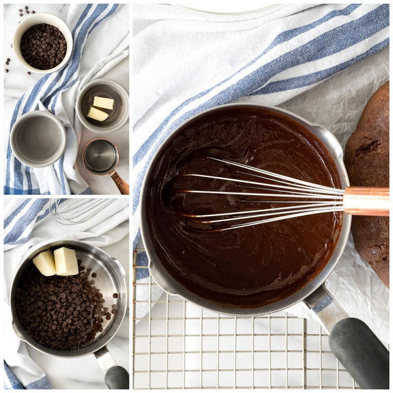 A collage of 3 photos showing the ingredients and mixing the shiny glaze for the chocolate cake