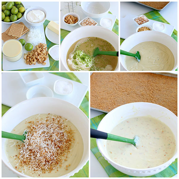 collage of How to Make Key Lime Coconut Cashew Bars