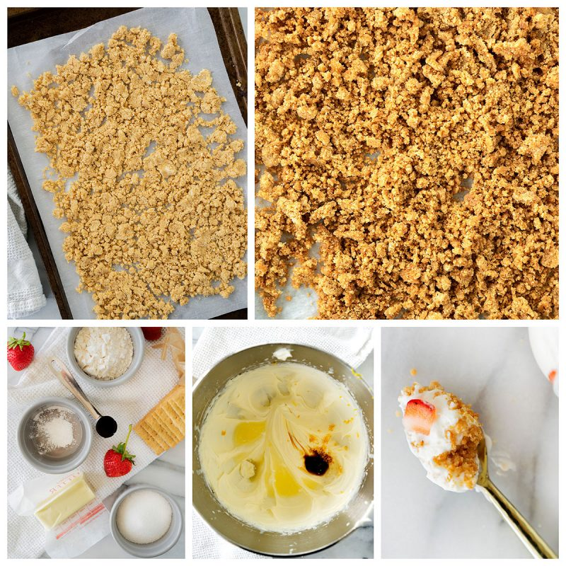 Photo collage of the unbaked and baked crust, the ingredients for the cheesecake filling, the filling ingredients in a bowl, and the finished cheesecake on a spoon.