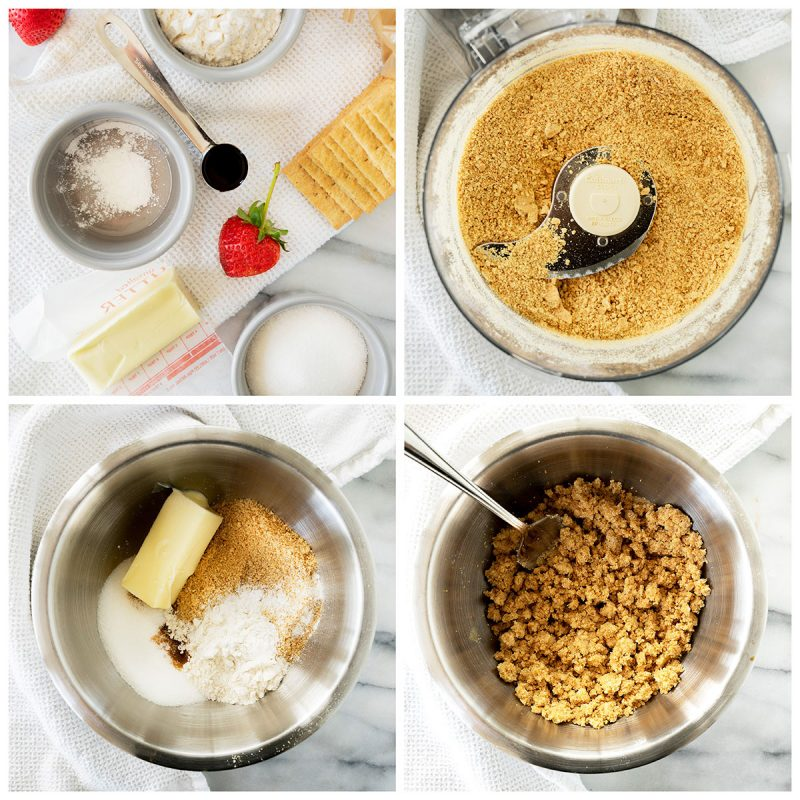 A collage of four photos showing the making the crust for the cheesecake in a jar
