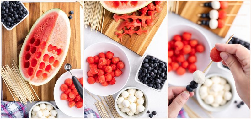 3 collage photos of making red, white and blue fruit and cheese skewers; one with watermelon using a melon baller, one with the watermelon, blueberries and mozzarella in bowls, and one put the fruit and cheese on skewers