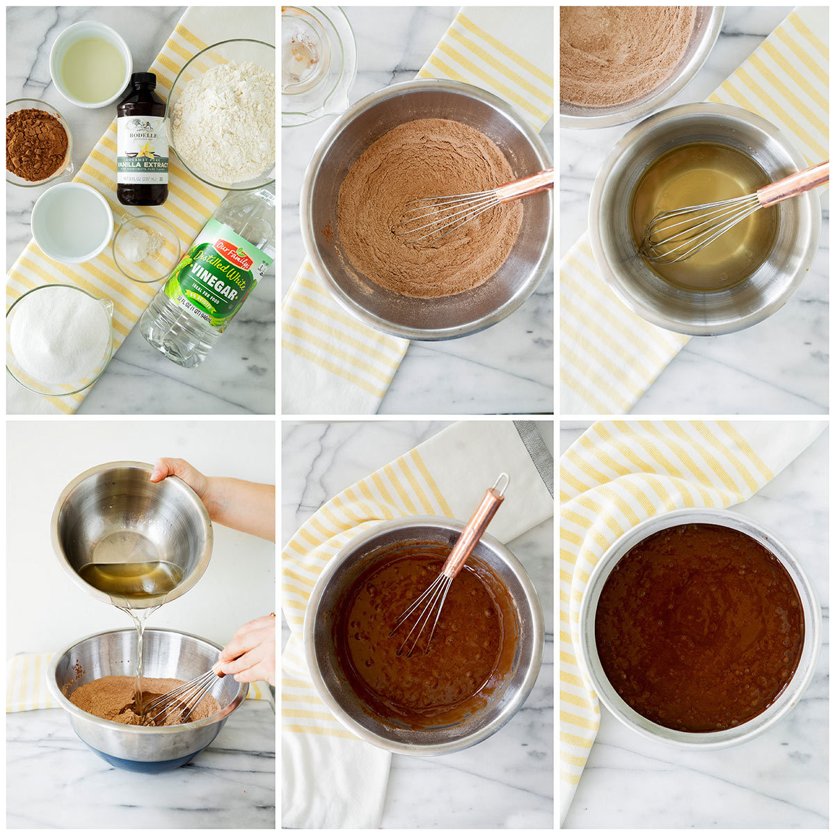 6 step by step photos of making the chocolate cake batter