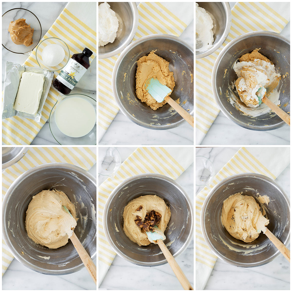 6 step by step photos of making the peanut butter cheesecake batter