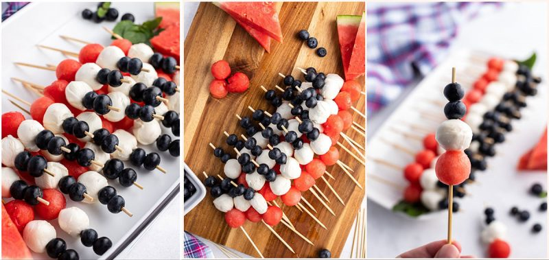 collage of Red, White and Blue Assemblying Fruit and Cheese skewers on a wooden cutting board