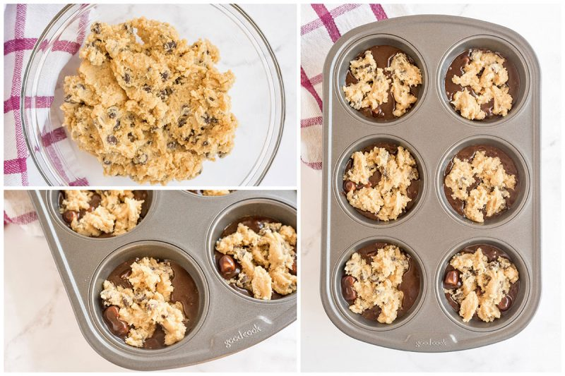 A collage of 3 pictures; one of the cookie dough batter after mixing and two of the cookie dough dolloped on top of the brown batter in a muffin pan.