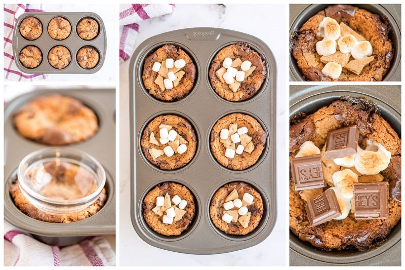 A collage of five photos; one of the Brookies in the muffin tin after baking, one of creating the bowl by pressing a cup into the top, one of the smears topping on the brake before browning the marshmallows, two showing the s\'mores broke after the marshmallows are browned.