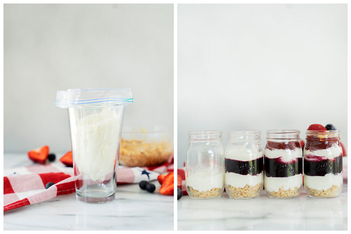 Collage of how to layer red, white and blue cheesecakes in mason jars with cream cheese filling, oreo cookie crust and berry purees