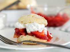 strawberry shortcakes with whipped cream and homemade biscuits