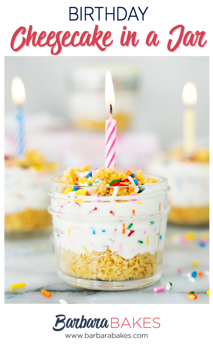 pinterest image for no-bake birthday cheesecake in a jar