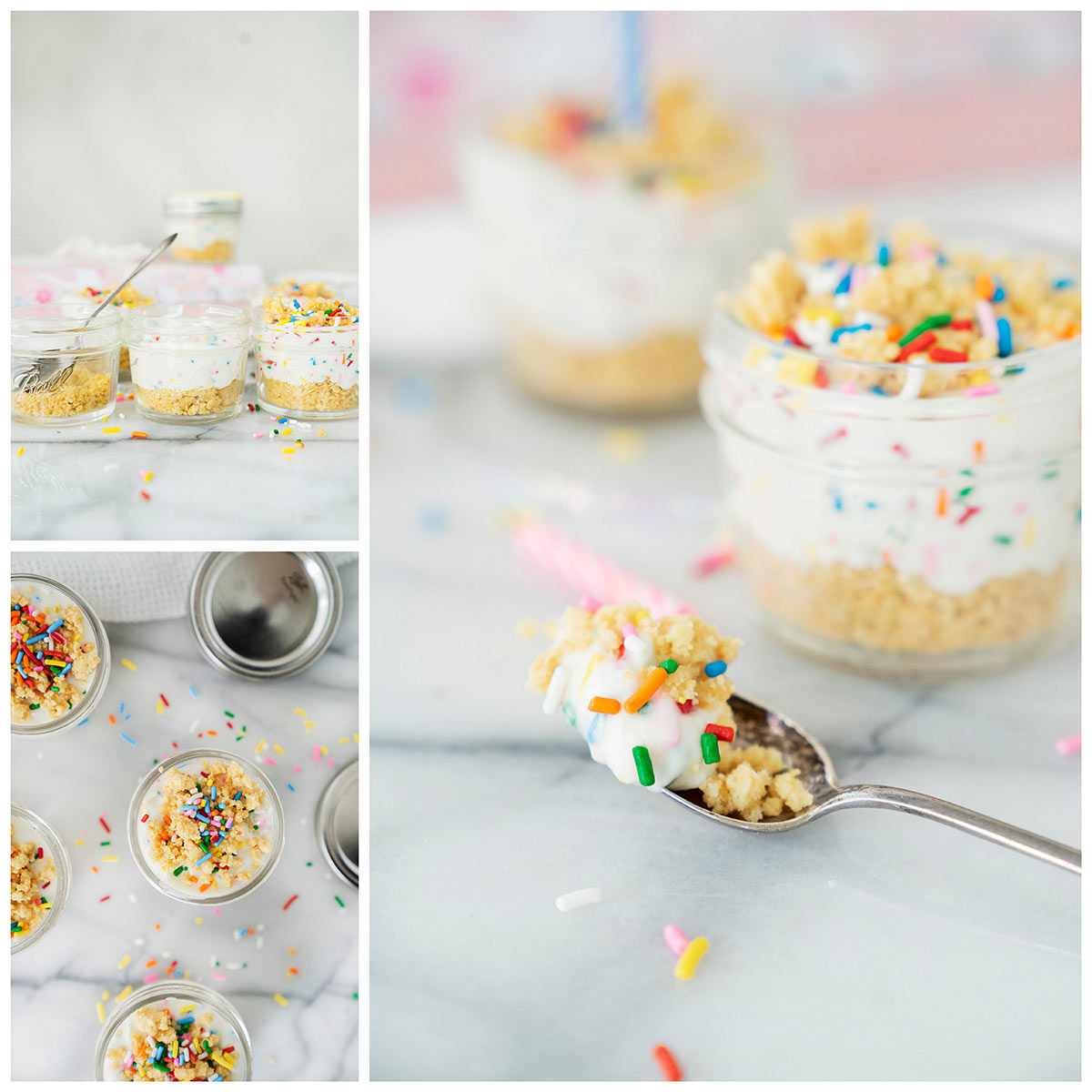assembling birthday cake cheesecake in a jar with no-bake cream cheese filling, oreo cookie crust and rainbow sprinkles