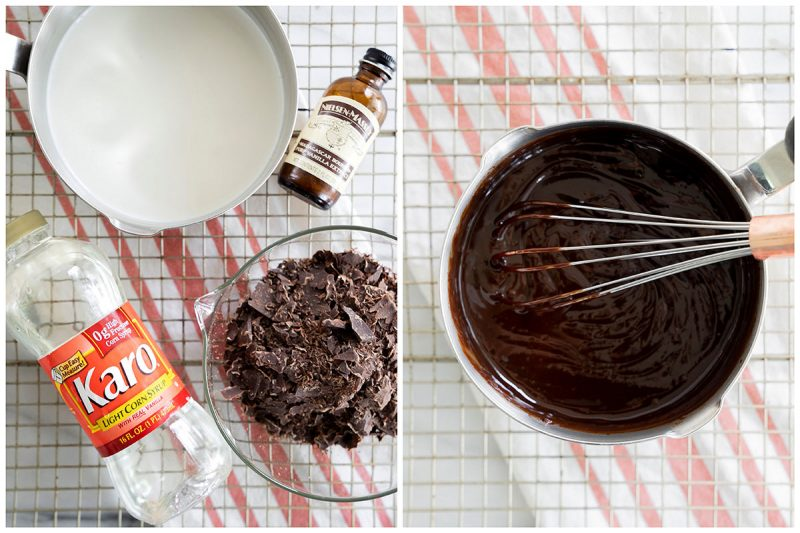 two photos showing how to make chocoalte ganache from melted chocolate, syrup and vanilla exract with a whisk and a mixing bowl