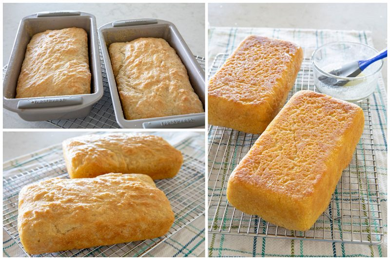 Three photos of the baked English muffin bread. One photo of the bread in the loaf pans, one on the bread on a cooling rack, one of the bread upside down on the cooling rack