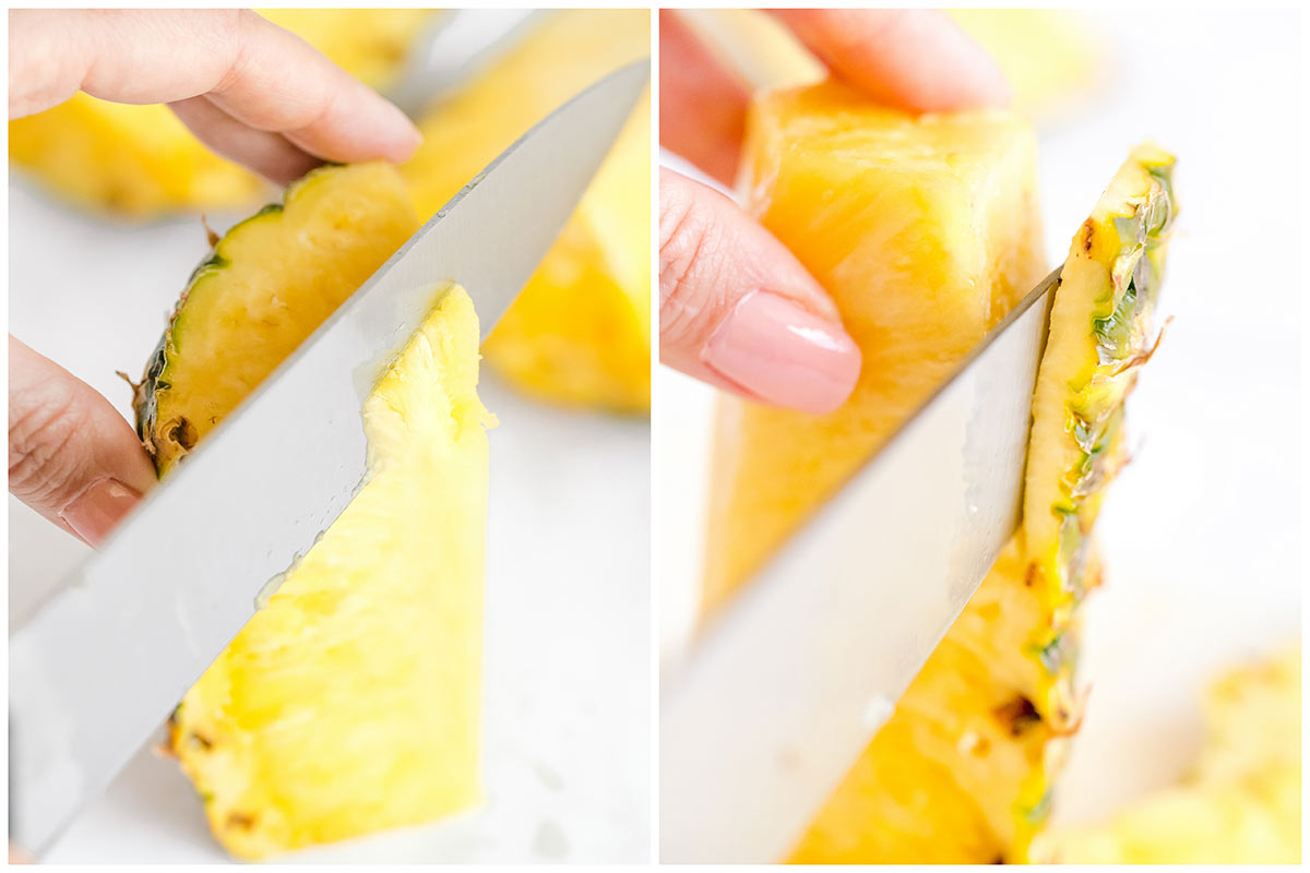 slicing the core and the skin of the pineapple wedges off